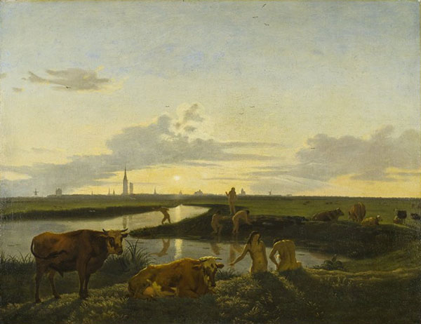 Canal Landscape with Figures Bathing (view of Zwolle) - Hendrick ten Oever, 1675