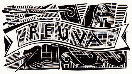 FEUVA woodcut by Jonathan Gibbs