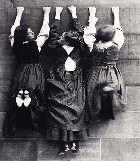 Three women students photographed at ECA, c. 1908