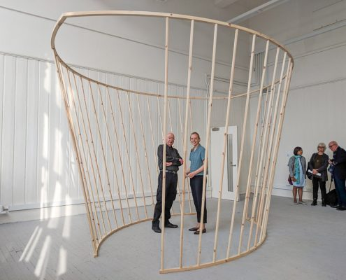 FEUVA Student Sculpture Prize 2018 - Alice Dudgeon with Robert Anderson inside the sculpture